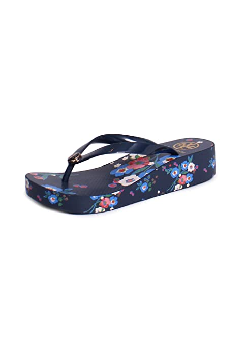 9c4f0ee87 Tory Burch Wedge Floral Printed Flip Flop Sandals in Tory Navy Pansy  Bouquet Size 10