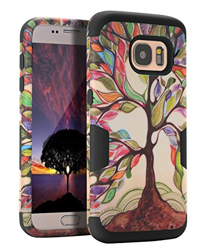 Galaxy S7 Case, S7 Case - SKYLMW [ Shock Resistant Series ] Hybrid Rubber Case Cover for Samsung Galaxy S7 3in1 Hard Plastic +Soft Silicone Tree Black