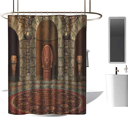 (Qenuan Shower Curtain Gothic,Throne of King in Vintage Style Palace Chandelier Medieval Architecture Theme, Burgundy Grey,Hand Drawing Effect Fabric Shower Curtains 54