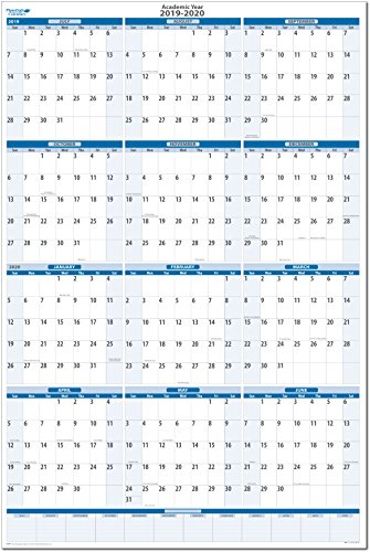 (Academic Dry and Wet erasable Wall Calendars by PlanetSafe Calendars (2019-2020 Sky Blue Vertical 32 x 48))
