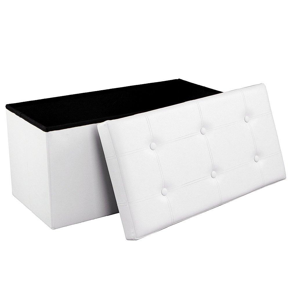 SONGMICS Folding Chest Pouffe Stool for Storage, Maximum Load 300kg, White, 76x 38x 38cm, LSF106 6955880346714