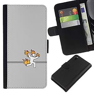 Sony Xperia Z3 D6603 - Dibujo PU billetera de cuero Funda Case Caso de la piel de la bolsa protectora Para (Stick Man On Fire - Funny)