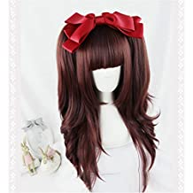 Suuny Queen cheap good quality synthetic Wine red cosplay color wigs kanekalon Long Straight wig with bangs for sale + 2 ponytail