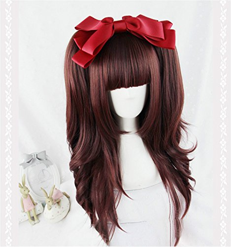 Suuny Queen cheap good quality synthetic Wine red cosplay color wigs kanekalon Long Straight wig with bangs for sale + 2 (Black Long Wig With Two Braids)