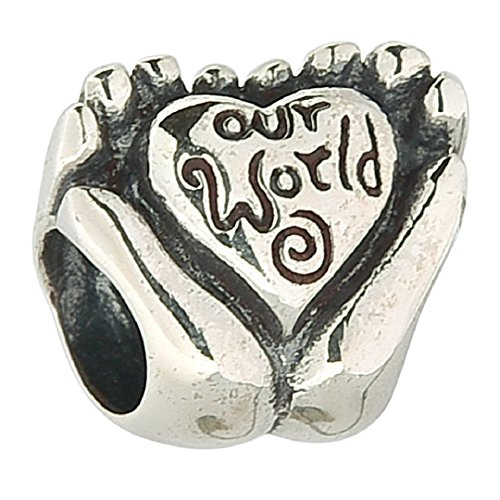 Authentic Sterling Silver Letter Love Our World Two Hands Holding Bead Fits European Charms