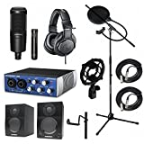 Home Recording Studio Bundle Audio Technica AT2041SP ATH-M20x AT8458 Stand Presonus AudioBox USB Samson Media ONE BT3 Speakers