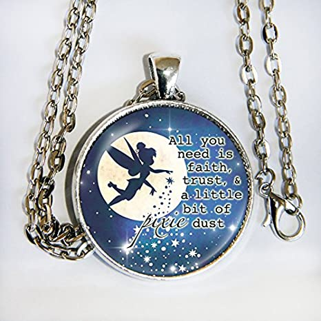 Amazoncom Pixie Dust Necklace Peter Pan Quote Everything Else