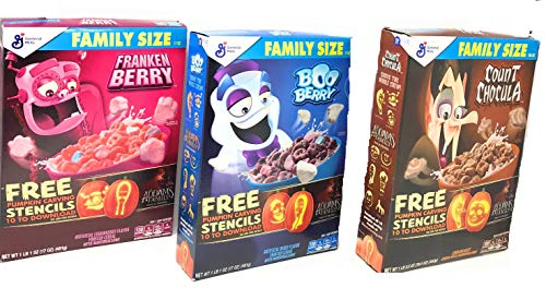 Monster Cereal Mega Family Size Variety Halloween 3 Pack with Stencils - Includes Count Chocula (19.5oz), Boo Berry (17oz), and Franken Berry (17oz)