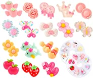 Hifot 16 Pairs Clip-on Earrings No Pierced Design Earrings Dress up Princess Jewelry Accessories for Girls Kid
