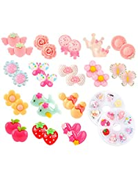Hifot 16 Pairs Clip-on Earrings No Pierced Design Earrings Dress up Princess Jewelry Accessories for Girls Kids Toddler