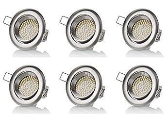 sweet-led 6 x flache Einbaustrahler LED rostfrei 230V, 3,5W ultra flach Schwenkbar, Rund, Chrom gebürstet, 350 lumen, Warmwei