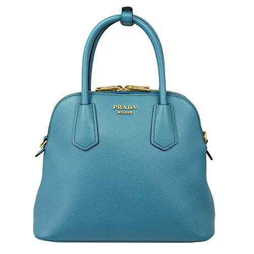 PRADA Women's Saffiano Leather Hand Bag W/Strap Blue Bl0907 Saffiano Laguna