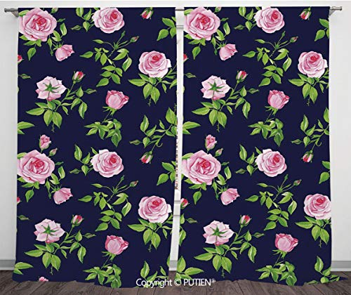Satin Window Drapes Curtains [ Navy and Blush,Vintage Roses and Buds Romantic Feminine Floral Pattern Old Fashioned Decorative,Indigo Green Pink ] Window Curtain Window Drapes for Living Room Bedroom (Drapes Window Harlow)