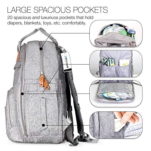 TETHYS Diaper Bag Backpack [Multifunction Waterproof Travel Back Pack] Maternity Baby Nappy Changing Bag Ideal for Mom and Dad, Large Capacity and Stylish Organizer for Baby Care - Gray    Product Description