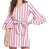 AMSKY Plus Size White Dress, Women Ladies Belt Stripe Cotton and Linen Round Neck Sleeve Mini Dress PK/S,Fashion Hoodies & Sweatshirts,Pink,S