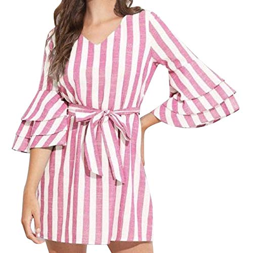 Jiayit Women Dress- Ladies Belt Stripe Linen V Neck Bell Sleeve Mini Dress Shirts (S, Pink) -