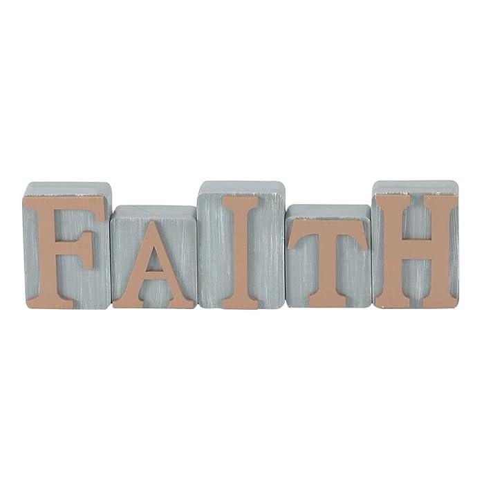 Faith Milk Paint Gray Milk Paint Gray 2.5 x 8.5 Wood Table Top Sign Plaque