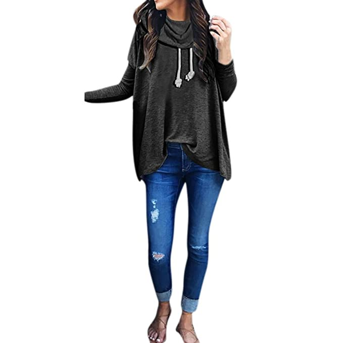 129618ac0a2 BSGSH Women s Solid Long Sleeve Cowl Neck Casual Hoodie Sweatshirt Pullover  Tops at Amazon Women s Clothing store