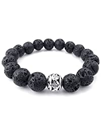 Konov Jewelry Energy Mens Bracelet, 12mm Lava Rock and Silver Bead Bangle, Black Silver, with Gift Bag, C24003