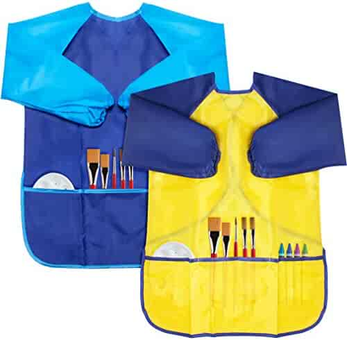 Baby Boys Waterproof Bib with Sleeves&Pocket,Unisex Kids Childs Arts Craft Painting Apron for Baby or kids6-36 Months
