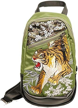 カラクリダマシイ 和柄 ショルダー ボディ バッグ 信長の虎 総刺繍 BAG 鞄 メンズ 294945
