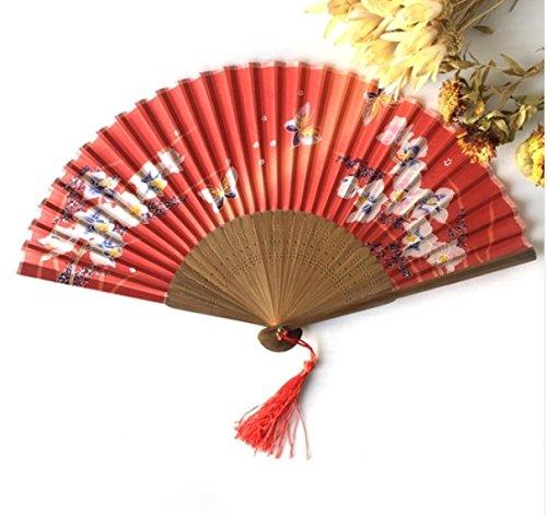 Red Bamboo Butterflies Sakura Folding Hand Fan Wedding Bridal Decoration Event & Party Supplies Home Decor Dance Fans