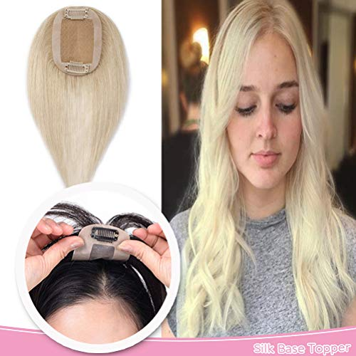 10 Inch Human Hair Toppers for Women Thin Clip in Hair Top Hairpiece Silk Base Natural Toupee #60 Platinum Blonde