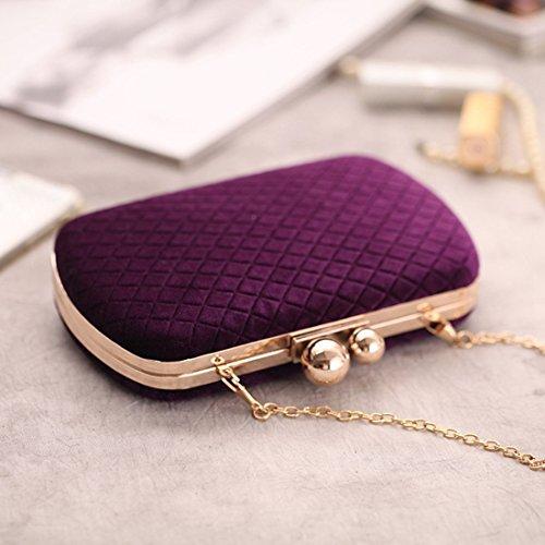 Borse Strass Heiplaine Purple Maniglia Diagonali Da Flanella Purple Frizioni Borsa colore Per Sera Banchetti Anelli Femmina Catene Donna qf15wnr1I