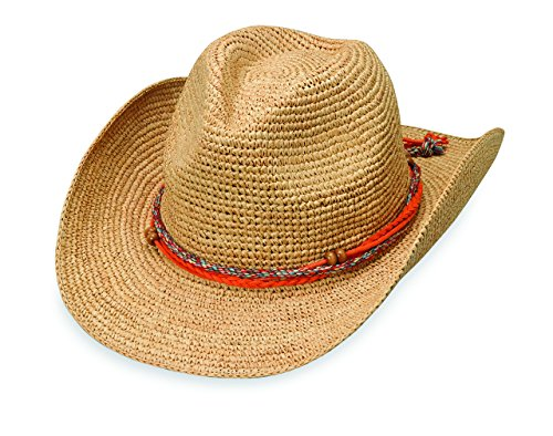 Wallaroo Hat Company Women's Catalina Cowboy Sun Hat - Stylish Sun Protection, Natural (Beaded Raffia)