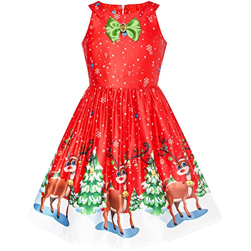 LQ42 Girls Dress Red Christmas Reindeer Snow Xmas Tree Party Size 8