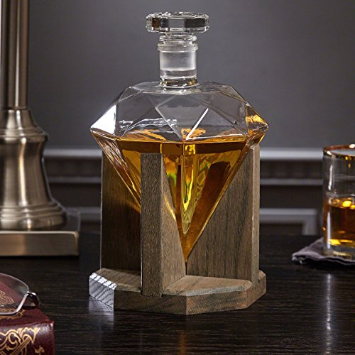 Timeless Diamond Decanter with Red Oak Stand by HomeWetBar - Perfect Housewarming Gift by HomeWetBar