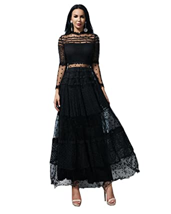 47488a8480f Miss ord Women Sexy High Neck Long Sleeve Dot Dresses Female Lace Dress  Casual Elegant Dress