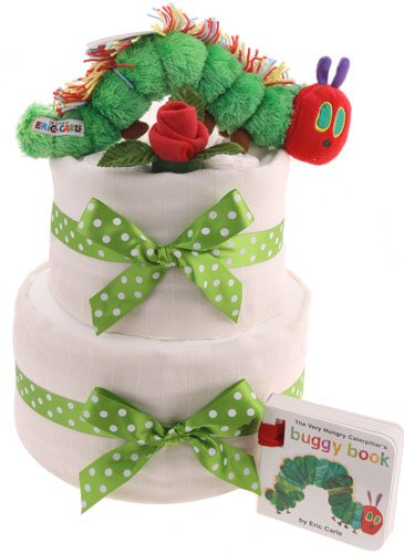 2 Tier Hungry Caterpillar Nappy Cake Baby Gifts New Born Baby Free Delivery NappyCakeShop