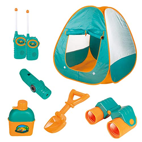 Hommoo Camping Tent Set for Kids Includes Pop Up Tent, Telescope, 2 Walkie Talkies,Water Bottle, Shovel, 4 in 1 Multifunctional Whistle, Outdoor Indoor Portable Game Toys Play House for Child for Girl (Talkies Walkie Tent)