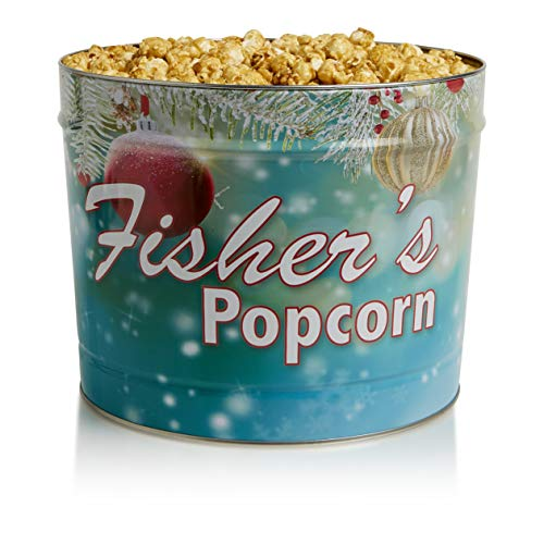 Fisher's Popcorn, Holiday Tin, Gluten Free, 5 Simple Ingredients, Handmade, Caramel, 2 Gallons