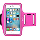 iPhone 6S Armband, iPhone 6 Armband, iPhone SE Armband, iPhone 5S Armband,Alkax Sports Exercise Water Resistant Armband Running Pouch Touch With Key Holder For Walking+One Free Stylus Pen(Hot Pink)