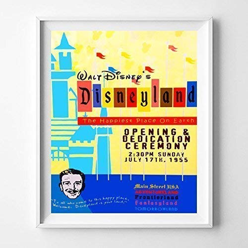 Disneyland The Happiest Place on Earth Adventureland Frontierland Wall Art Poster Home Decor Print Vintage Artwork Reproduction - Unframed Disneyland Happiest Place On Earth