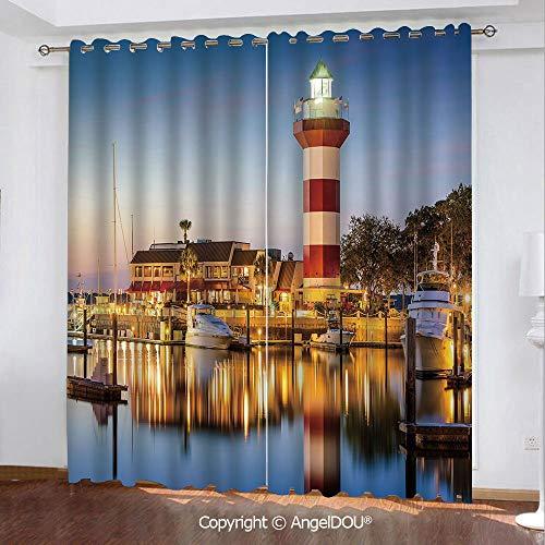 South Carolina Printed Curtain - SCOCICI Darkening Thermal Insulated Grommet Unlined Printed Window Curtains Hilton South Carolina Lighthouse Twilight Water Reflection Boats Idyllic 2 Panel Set Window Drapes