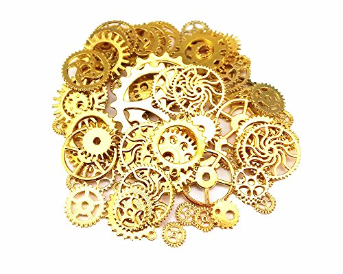 Antique Gears (Yueton 100 Gram (Approx 70pcs) Antique Steampunk Gears Charms Clock Watch Wheel Gear for Crafting (Golden))