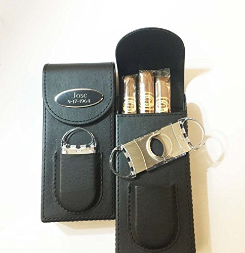 Set of 5 Bulk discount -Personalized Engraved Free Cigar Case,Cutter-Black leather-Groomsmen, Groomsman, Best mangift