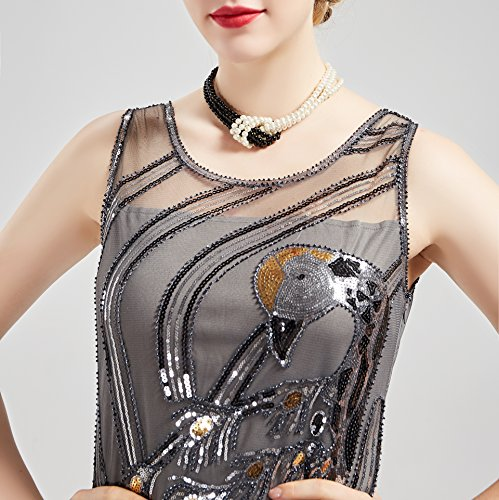 BABEYOND 1920s Imitation Pearls Necklace Gatsby Knot Pearl Necklace 20s Pearls 1920s Flapper Accessories Two-tone Stitching Style (Black and White) by BABEYOND (Image #4)