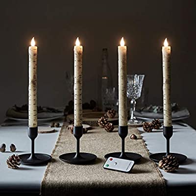Lights4fun, Inc. Set of 4 Birch Wax Flameless LED Battery Operated Taper Candles with Remote Control