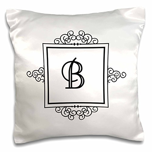 3dRose pc_154325_1 Initial Letter B Personal Monogrammed Fancy Black and White Typography Personalized-Pillow Case, 16 by 16