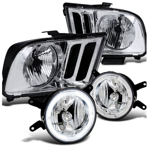 Ford Mustang Base GT, Chrome Headlights, Clear Lens Halo Fog Lights Foglights