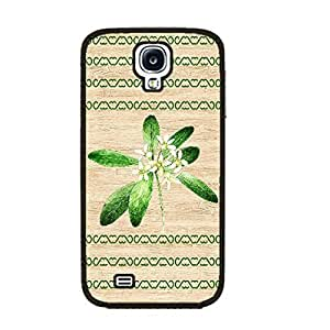 Cute Design Wood Pattern Print Hard Plastic Personalized Cell Phone Case Cover for Samsung Galaxy S4 I9500 (green flower black ju5227) Kimberly Kurzendoerfer
