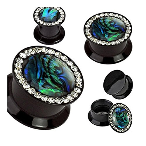 Flat Rim Chandelier - Inspiration Dezigns Gemmed Rim and Abalone Inlay Black Acrylic Double Flare Screw Fit Plugs - Sold as Pairs (0G)