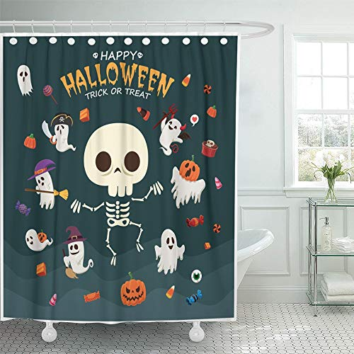 Emvency Shower Curtain Set Waterproof Adjustable Polyester Fabric Broomstick Vintage Halloween with Witch Ghost Vampire Mummy Pirate Skeleton 66 x 72 Inches Set with Hooks for Bathroom