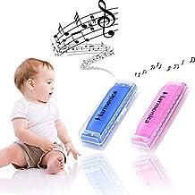 Koogel 2 PCS Colorful Translucent Children Harmonica,10 Hole Harmonica(Blue,Pink)