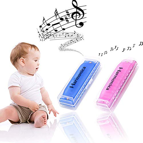 Koogel 2 PCS Colorful Translucent Children Harmonica,10 Hole Harmonica(Blue,Pink)