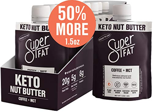 SuperFat Nut Butter Keto Snacks - Macadamia & Almond Nut Butter Fat Bomb Paleo Snack For Energy, Metabolism & Brain Function, Vegan, Gluten Free, Low Net Carb Box of 10 x 1.5 oz (Coffee + MCT)